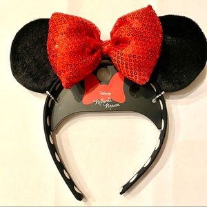 Disney Minnie Mouse Ears Red Sequin Headband